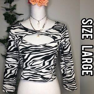 Zebra crop top long sleeve top